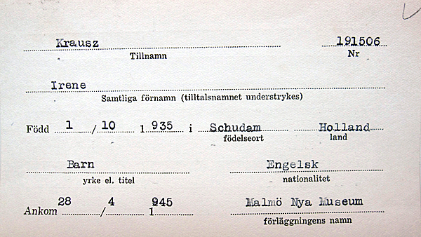 Irene's Swedish registration card issued after the White Busses rescue.